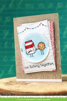 "Lawn Fawn - Milk and Cookies + coordinating dies, Violet's ABCs, Circle Stackables, Stitched Rectangle Stackables, Snow Day 12x12 ""hoodie"" journaling cards  _ card by Elena for Lawn Fawn Design Team"