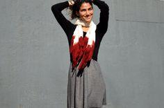 Red Felted Scarf Nuno Felt scarf Spring by ContemporaryFeltArt