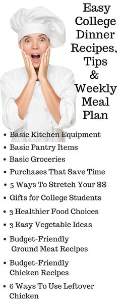 Easy College Dinner Recipes , Tips and Weekly Meal Plan - easy dinner recipes…