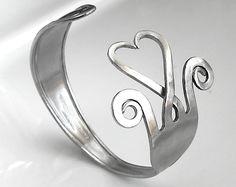 Fork bracelet. Big stainless steel  heart shaped fork. $29.00, via Etsy.