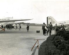 Aug. 19, 1940: Passengers who arrived at Boston Airport walked outside from their plane to the terminal.