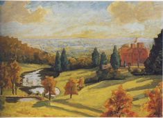 "'View of Chartwell in the 1930s' by Sir Winston Churchill. In addition to being a first-class statesman, Sir Winston Churchill was a talented artist as well. The man loved to paint. He loved it so much that he built himself an art studio in his estate's garden. When he felt the ""Black Dog"" of depression tailing him, he would retreat to his studio and keep the darkness away by putting brush to canvas. ~ I've always liked this painting of Chartwell."
