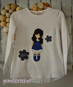 GEMITA CROCHET : Camiseta personalizada estilo Gorjuss. camiseta decorada