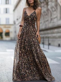 Leopard V Neck Spaghetti Strap Maxi Dress - Sommer Kleider Ideen Sexy Dresses, Dress Outfits, Evening Dresses, Casual Dresses, Summer Dresses, Summer Maxi, Vacation Dresses, Formal Dresses, Spring Summer