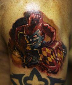 Evil clown tattoo pretty cool actually.
