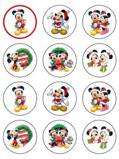 Mickey Mouse at Christmas Mickey Mouse Christmas, Christmas Stickers, Christmas Gift Tags, Diy Christmas Ornaments, Christmas Printables, Christmas Pictures, Xmas Cards, Christmas Holiday, Christmas Cupcake Toppers