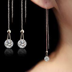 긴 크리스탈 귀걸이 골드 도금 스터드 귀걸이 여성 보석 패션 CZ 다이아몬드 brincos 파티 크리스마스 선물