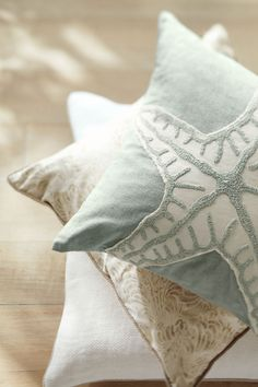 starfish pillow by pottery barn Beach Cottage Style, Beach Cottage Decor, Coastal Cottage, Coastal Homes, Coastal Style, Coastal Living, Coastal Farmhouse, Modern Coastal, Seaside Decor