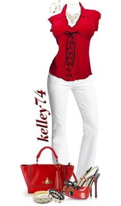 """""""White Jeans w/Red & Black"""" by kelley74 on Polyvore"""