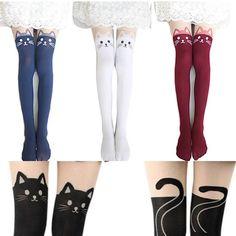 663f71e741 2015 New 4 Colors Nylon Cat Head And Tail Tattoo Stockings Lolita Velvet  Women Sexy Knee Socks Tights Cute Printed Pantyhose