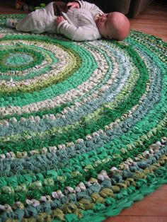 Rag Rug / Basket Crochet Pattern PDF. Crochet with Fabric! | Five Green Acres