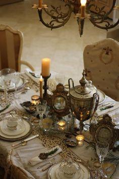 An elegant tablescape clad in ivory.  ~Splendor