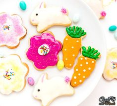 Eggless Easter Sugar Cookies decorated with Eggless Royal Icing! Get your kids involved and make some sugar cookies for Easter!