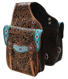 Showman Tooled Leather Western Saddle Bag With Beaded Inlay Horse Tack for sale online Roping Saddles, Western Horse Saddles, Western Tack, Western Cowboy, Western Wear, Leather Saddle Bags, Leather Tooling, Tooled Leather, Horse Tack For Sale