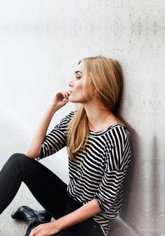Straight hair, striped shirt