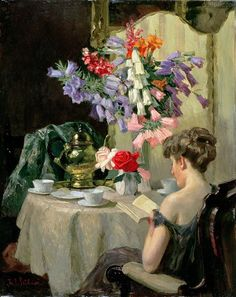 Sunday morning, woman reading by Isabel Codrington (1874-1943)