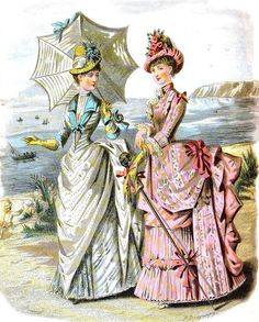 Duo of Victorian Ladies Note Cards (Pk of by Sassy. Retro Mode, Mode Vintage, Vintage Ladies, Retro Vintage, 1880s Fashion, Edwardian Fashion, Vintage Fashion, Historical Costume, Historical Clothing