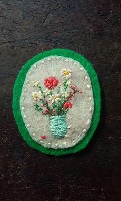 Wildflowers in Turquoise Vase Patch by AUD9 on Etsy