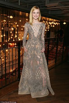 Elle Fanning dazzles in glamorous sheer dress at The Neon Demon UK premiere in London | Daily Mail Online