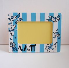 Lilly Pulitzer inspired Alpha Delta Pi photo frame 6x4, hand painted OFFICIAL LICENSED PRODUCT