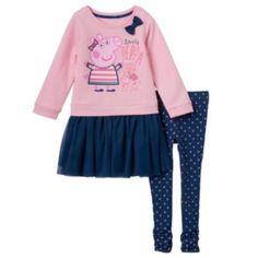 Toddler+Girl+Peppa+Pig+Tutu+Top+&+Polka-Dot+Leggings+Set