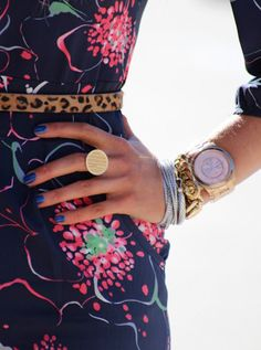 monogrammed ring, chunky arm candy, mox+match floral & animal prints. nicely updated, madame.