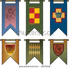 Long banners hang form the outside of the castle wall, and tournament grounds. Medieval Life, Medieval Castle, Celtic Clothing, Celtic Festival, Château Fort, Hanging Banner, Castle Wall, Renaissance Fair, Cub Scouts