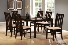 7 pc Norwalk collection espresso finish wood dining table set with wide slatted backs and fabric seats