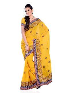 Yellow #Designer #Sarees #Shopping  For More Saree Check this page now :-http://www.ethnicwholesaler.com/sarees-saris