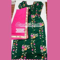 Punjabi Suit Boutique, Boutique Suits, Indian Suits, Indian Dresses, Designer Punjabi Suits Patiala, Chikankari Suits, Salwar Kurta, Embroidery Suits Design, Punjabi Fashion