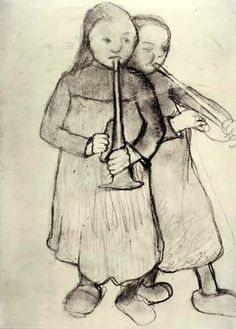 Paula Modersohn-Becker - Two peasant girls with trumpets