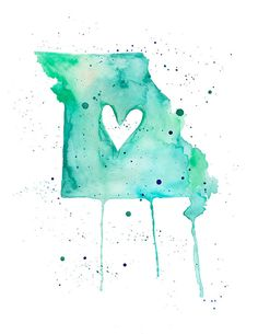 Items similar to or - Missouri Love / Watercolor Map Print / Wedding Gift / Anniversary Gift / Moving Gift / Travel / Wanderlust / USA on Etsy