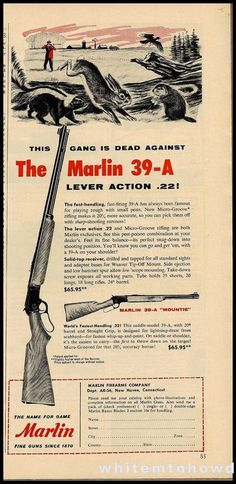 1956 MARLIN 39-A Lever-Action .22 Rifle Vintage Gun AD Old Firearms Advertising #Armalite