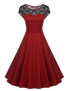 Cap Sleeve 1950s Vintage Style Lace Wedding Swing Midi Dress