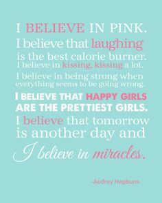I+Believe+in+Pink+11x14+Print+Audrey+Hepburn+by+TheEducatedOwl,+$9.00