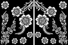 Flowers Stencils for Henna and Glitter temporary tattoo body art Flower Tattoo Stencils, Henna Stencils, Cricut Stencils, Small Henna Tattoos, Ankle Tattoo Small, Temporary Tattoos, White Tattoos, Tiny Tattoo, Henna Tattoo Sleeve
