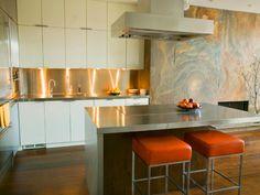 Stainless Steel Countertops - Our 13 Favorite Kitchen Countertop Materials on HGTV Orange stools! Stylish Kitchen, Modern Kitchen Design, Interior Design Kitchen, Modern Design, Bulthaup Kitchen, Cocinas Kitchen, Kitchen Countertop Materials, Kitchen Countertops, Quartz Countertops