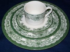"""4 Piece Staffordshire Engravings """"Yuletide"""" Christmas Dishes Plates Cup Set   eBay"""