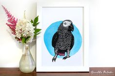 African grey parrot print - Drawn by Annukka Palmén - Postcard Paper, African Grey Parrot, A4, Art Pieces, How To Draw Hands, My Arts, Photoshop, Instagram, Parrot