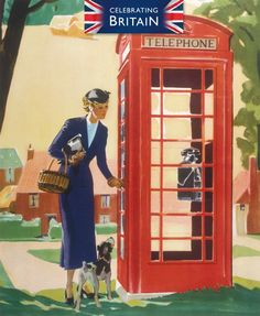 'A Lady with a Dog next to a Telephone Kiosk' publicity poster with artwork by Andrew Johnson Posters Uk, Cool Posters, Family Illustration, Illustration Art, Vintage Advertisements, Vintage Ads, Illustrations, Vintage Travel Posters, Vintage Pictures