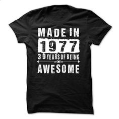 Made in 1977 - 39 years of being awesome - #basic tee #tshirt. CHECK PRICE => https://www.sunfrog.com/Names/Made-in-1977--39-years-of-being-awesome-77500241-Guys.html?68278