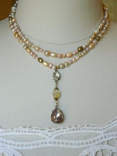 repurposed vintage jewelry pink freshwater pearl necklace citrine double strand woman bridal rhinestone atelier paris