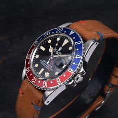PEPSI And yet another restock on one of our favoritesthe LIMITED Pepsi Vintage Strap is the perfect addition to any blue/red inlay. Follow the link in our bio and search for Pepsi #bulangandsons #pepsi #pepsiinlay #rolex #rolexgmt #seiko #1675 by bulangandsons