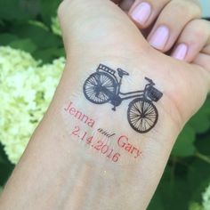Personalized Bicycle Temporary Tattoo
