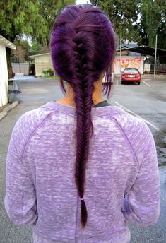 Back View Of French Fishtail Braid Purple Hair Hairstyles Ideas - fishtail braid hairstyles Fishtail Braid Hairstyles, Cute Braided Hairstyles, Pretty Hairstyles, Girl Hairstyles, Burgundy Hairstyles, Hairstyle Ideas, Trending Hairstyles, Updo Hairstyle, Braided Updo