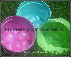 Day of our 101 Days of Summer Fun for Kids: The Activity Mom has compiled a post full of water balloon ideas! Check out Learn and Play with Water Balloons! Summer Preschool Activities, Outdoor Summer Activities, Toddler Learning Activities, Rainy Day Activities, Motor Activities, Indoor Activities, Outdoor Games, Outdoor Play, Preschool Ideas