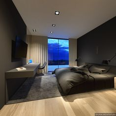 A atrial house by the lake on Behance Black Bedroom Design, Luxury Bedroom Design, Home Room Design, Master Bedroom Design, Home Interior Design, Bedroom Setup, Master Bedroom Interior, Modern Master Bedroom, Minimalist Bedroom