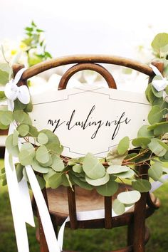 Awww how sweet is this sign for the bride's seat? Photographer: EE Photography; Decor: Sweet Sunday Events via Grey Likes Weddings