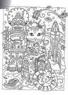 Cat Abstract Doodle Zentangle Paisley Coloring pages colouring adult detailed advanced printable Kleuren voor volwassenen coloriage pour adulte anti-stress kleurplaat voor volwassenen