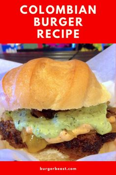 If Colombian-style Fast Food Burgers aren't available near you, then you should probably make one at home! #colombianfood #comidarapida #regionalburger #cheeseburger #sauces #burgerrecipe #receta Pineapple Sauce, Colombian Food, Provolone Cheese, Delicious Burgers, Roma Tomatoes, Burger Recipes, Sour Cream, Sauces, Style